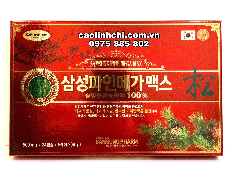 Tinh dầu thông đỏ Samsung Pine Mega Max Hàn Quốc 500mg x 120 viên